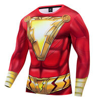 Shazam Men T-Shirt 3D Printed Short Sleeve Fitness Cosplay Gym Sports New Tops
