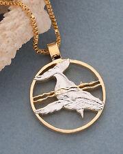 "Humpback Whale Pendant, Hand Cut Humpback Whale Coin, 1 1/8"" In Dia. ( # 640 )"
