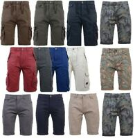 Mens Crosshatch Twill Cargo Combat Shorts Knee Length Cotton Bermuda Chino Pants