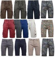 Mens Crosshatch Twill Cargo Combat Shorts Knee Length Cotton Bermuda Pants 3/4