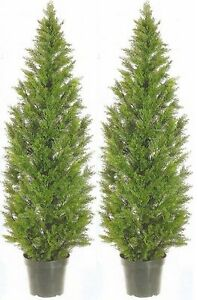 2 ARTIFICIAL CEDAR PINE OUTDOOR UV TOPIARY TREE 5' EVERGREEN PATIO PORCH DECK