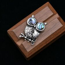 Cute Little Owl Brooch Pin with Sea Abalone Shell