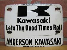 KAWASAKI LETS THE GOOD TIMES ROLL Vanity License Plate Sign Anderson Indiana USA