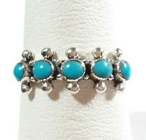 925 STERLING SILVER BEADED SOUTHWEST STACK STYLE 5 STONES TURQUOISE SIZE 8 RING