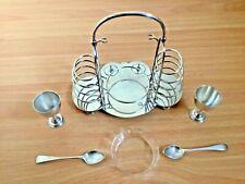 More details for barker brothers breakfast set toast rack egg cups spoon dish epns antique/vint.
