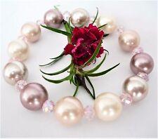 Damen Armband Muschelkernperlen Rosa Rose Lila Beige 11mm Perlen Rund 17-23cm