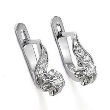Russian Vintage Style Diamond Earrings 585 14K White Gold .32 ct.t. SALE $439