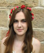 Red Rose Headband Hair Crown Wreath Festival Boho Garland Ribbon Headdress A11