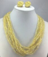Vintage Necklace Set Glass Seed Bead Yellow Multi Strand Choker Earrings Clip On