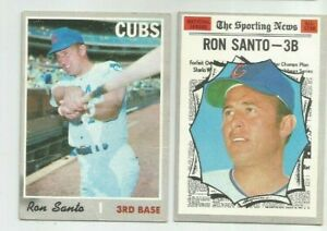 2) 1970 Topps Ron Santo vintage Chicago Cubs baseball cards #454 A/S & #670 HOF