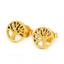 Titanium Titan Ohrstecker Ohrringe Ohrschmuck Damen Gelbgold Gold Lebensbaum 8