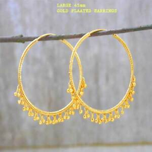 Stunning 22k Yellow Gold Plated Large Hoop Earrings.45mm Indian Style