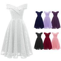 Women V-Neck Off-shoulder Sleeveless Wedding Guest Fit N Flare Floral Lace Dress