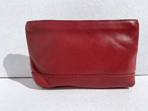 Coach Leather Makeup Case Red Cosmetic Pouch Purse Bag w/ Pocket