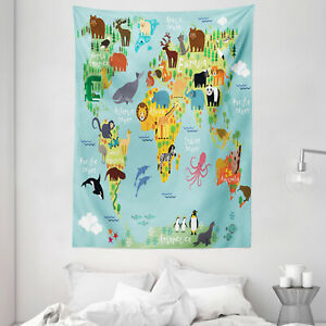 Cartoon Tapestry Animal Map of the World Print Wall Hanging Decor