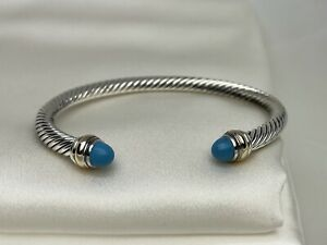 David Yurman Sterling Silver 925 Cable Classic Blue Turquoise Bracelet 14K Gold