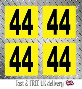 Kart Race Numbers including Background x 4 - MSA 2020 Compliant (YB) S3