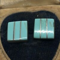 Vintage Sterling Silver Earrings 925 Turquoise Square