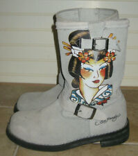 Ed Hardy Womens Gray Tattoo Geisha Engineer Biker Motorctycle Boots Sz 9