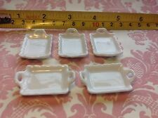 Dollhouse Miniature Kitchen Dine Food White Ceramic Plate w/ Handle 5pcs 1:12