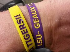 "LSU Tigers Wristbands Bracelets NCAA ""LSU- Geaux Tigers!!"" Set Of 2"