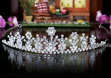 Bridal Pageant Sparkling Flower Handmade Tiara use Swarovski Crystal T1347