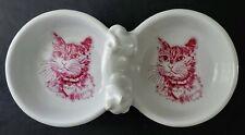 Cute Set of 2 Attached Ceramic Cat Pet Food Bowls