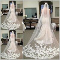 3 M White Ivory Cathedral Length Tulle Lace Edge Wedding Bridal Long Veil + Comb