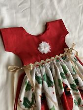 Apron Dress Hanging Kitchen Oven Door Towel Christmas Red Cardinals Holly Gold