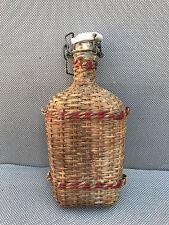 Ancien petite bouteille fiole Belgique entourage osier french antique bottle