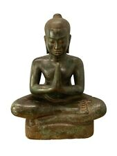 "Antique Khmer Style Bronze Meditation Jayavarman VII Statue - 40cm/16"""