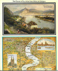 Foldout Map. Germany ,,, Course of the Rhine River from Mainz to Cologne.