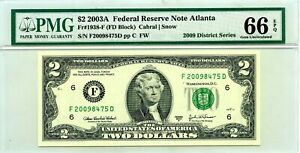 $2 DOLLARS 2003 A FEDERAL RESERVE NOTE ATLANTA F 1938 F LUCKY MONEY VALUE $120