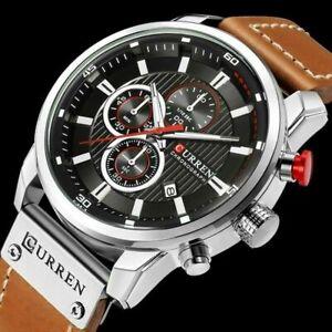 Men Leather Aviator Military Army Chronograph Date Quartz Waterproof Wrist Watch