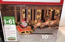 Santas Sleigh Airblown Inflatable Reindeer Christmas Holiday Rare Lighted