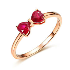 0.5Ct Heart Cut Red Bow Trendy Design Engagement Ring 14K Solid Rose Gold Women