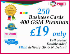 250 Business cards / 400gsm Thick Artboard / Double Sided / FREE Delivery