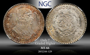 1963-MO MEXICO 1 PESO NGC MS 66 SILVER ONLY 7 GRADED HIGHER TONED