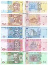 Ucraina 1 + 2 + 5 + 10 + 20 hryven 2011-2015 Set di 5 BANCONOTE 5 PZ UNC