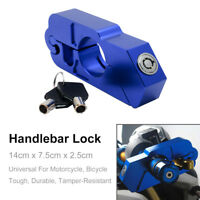 Motorcycle Handlebar Grip Brake Lever Lock Anit Theft Security Caps-Lock Blue