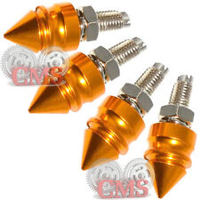 4 Gold Pike Spike License Plate Frame Bolt Kit - Motorcycle Tag Hardware Screw
