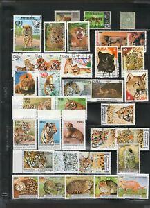 Wildlife Animal Stamp Collection Lot Big Cats Tiger Lion Snow Leopard Jaguar II