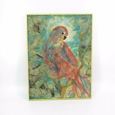 Vtg Torn Paper Pieced Collage Parrot in Tree Tropical Jungle Artwork