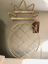 Sass & Belle Gold Pineapple Wall Mounted Jewellery Holder Wire Monochrome