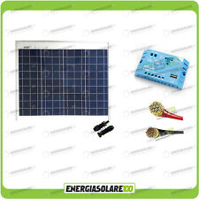 Kit Solare Fotovoltaico Base Roulotte Caravan da 50W 12V Batteria Servizi