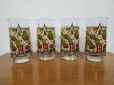 Set of 4 Vintage Anchor Hocking Triguba Cottage House Drinking Glasses Tumblers