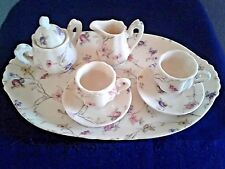 Adorable Miniature Collectible or Play Tea Set White/Floral includes Tray