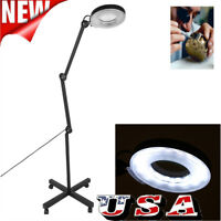 5x Diopter Magnifying Floor Stand Lamp Magnifier Glass Len Facial Tattoo Gift US