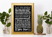 in this house we do Harry Potter inspired canvas or print poster black gift home