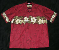 Men's Hawaiian Shirt Sz L Blue Hawaii Aloha Hibiscus Floral Tiki Retro Deep Red